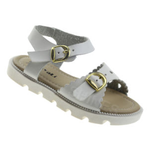 White Leather Upper with Button Flat Sandal for Girls