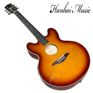 Hanhai Music / Hollow Electric Guitar with Tobacco Sunburst Body pictures & photos