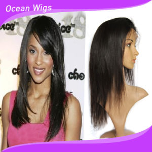 100% Human Remy Hair Full Lace Wig Straight Hair Peruvian Hair Lace Wig pictures & photos