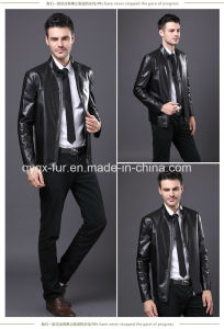 2015 Popular Black Leather Jacket for Men pictures & photos