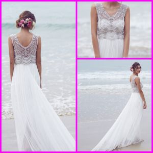 Beach Chiffon Bridal Dress Jewelry Beads Anne Empire Wedding Dresses Z2056 pictures & photos