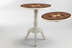 View Painting Round Wood Home Furniture Side Accent Table