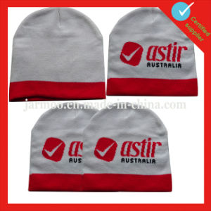 Wholesale White Acquard Knitted Beanie Hat pictures & photos