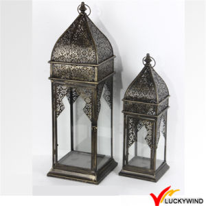 Wholesale S/2 Vintage Garden Hanging Glass Metal Lantern pictures & photos