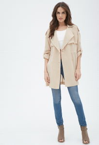 Women Long Sleeves Drapey Trench Jacket pictures & photos