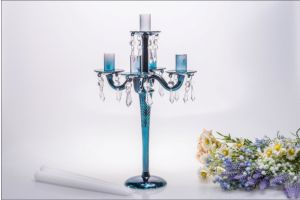 Blue Five Poster Glass Candle Holder for Wedding Decoration pictures & photos