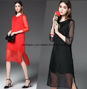 Fashion Pure Color Round Neck Women Sexy Dress Gored Dress pictures & photos