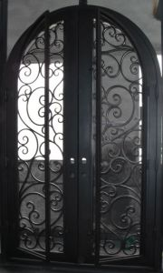 Round Top Wrought Iron Double Entry Door pictures & photos