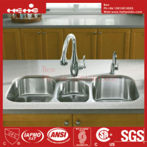 Stainless Steel Triple Bowl Under Mount Kitchen Sink with Cupc Approved, Kitchen Basin pictures & photos