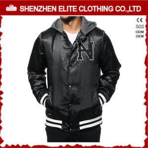 Wool Leather Varsity Letterman Jacket with Hood pictures & photos