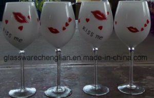Decorated White Wine Glass for Valentine′s Day (B-GG06) pictures & photos