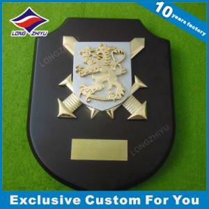 3D Gold Lion Metal Wooden Trophy Custom Logo Embossing Wood Plaque pictures & photos