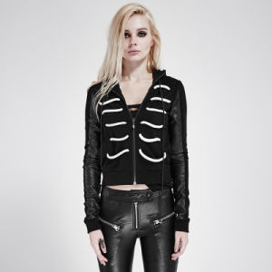 Py-194 Punk Dark Color Contrast Lacing Skeleton Slim Jacket with Hood pictures & photos