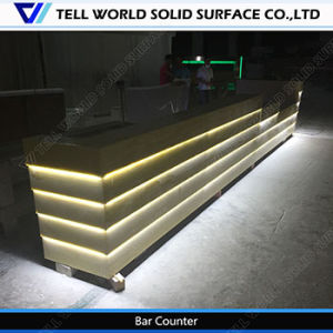 Customized Corian European Bar Furniture LED Lighting Bar L Shaped Coffee Bar pictures & photos