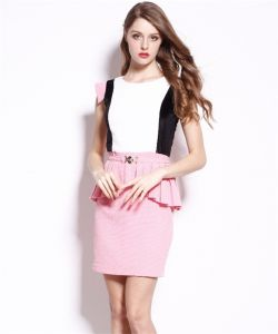 2015 Spring and Summer Women′s New High-End Temperament Slim Waist Sweet Pink Stitching Round Neck Dress pictures & photos