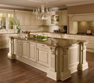 Melamine Kitchen Cabinet with PVC Finish Door Panel pictures & photos