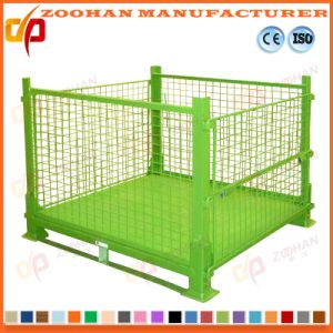 Stackable Folding Steel Warehouse Storage Container Wire Mesh Cage (Zhra27) pictures & photos
