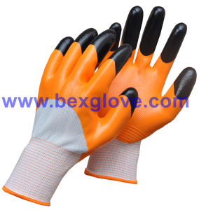 13 Gauge Polyester Liner, Nitrile Coating, 3/4 Safety Gloves pictures & photos