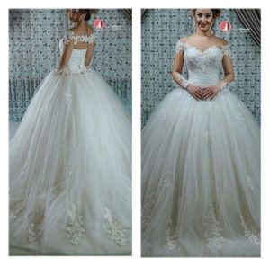 Long Sleeves Vestido Noiva Bridal Ball Gowns Lace Wedding Dresses Wd90 pictures & photos