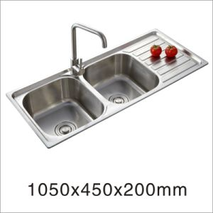 2015 Hot Sale Kitchen Stainless Steel One Stretched Double Bowl with Side Drain Board Sink (10545my) pictures & photos