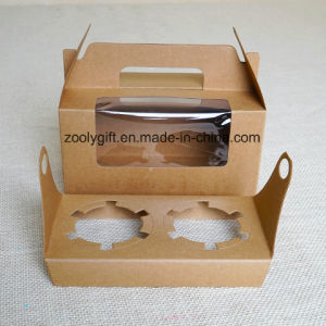 Carrier Lunch Package Boxes / Kraft Paper Cupcake Box with Insert pictures & photos