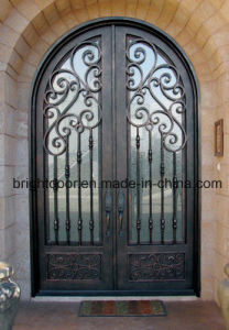 Arch Top Double Wrought Iron Grill Door Iron Entrance Door pictures & photos