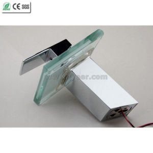 Glass Waterfall Color Water Tap Mixer LED Basin Faucet (QH0815F) pictures & photos