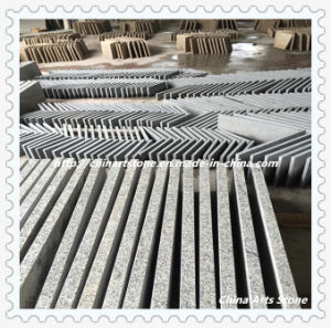 Chinese Grey and White Flamed Bushhammered Granite Floor Tile pictures & photos