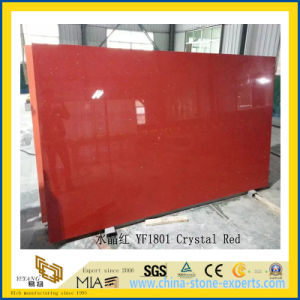 Polished Crystal Red Artificial Quartz Slabs for Kitchen Countertops (YQC) pictures & photos