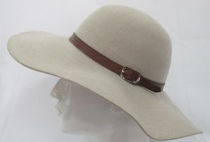 Girls Fashion Wool Felt Fedora Hat with Leather Hatband (F-070007)