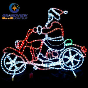 95X73cm Medium Santa Riding Motorcycle LED Motif Rope pictures & photos