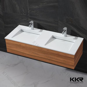 White Artificial Stone Marble Bathroom Double Basin pictures & photos