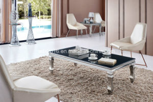Stylish Modern Simple Living Room Stainless Steel Glass Coffee Table pictures & photos