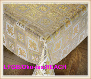 PVC 137cm Vinyl Lace Gold Table Cloth in Roll China Factory pictures & photos