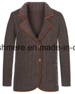 Lady Cable Long Sleeve Pure Cashmere Knitwear with Suit Collar pictures & photos