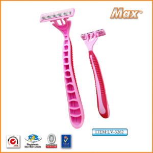 Triple Blade Stainless Steel Blade Disposable Shaving Razor (LV-3262) pictures & photos