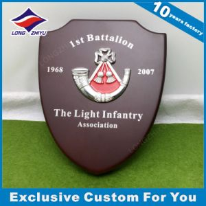 Cheap Wooden Shield Plaque with Lasering Metal Plate pictures & photos