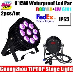 9PCS 15W RGBWA UV LED PAR Light IP65 DMX Waterproof PAR 64