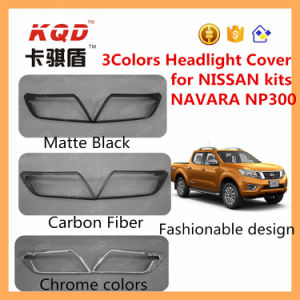 for Nissan Car 4X4 Body Kits for Nissan Navara Chrome Headlight Cover Carbon Fiber Headlamp Cover Car Accessories Matte Black 3 Colors