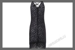 Ladies Knit, Bridle, Harlter, Lace, Sleeveless Evening Party Dress with Front Keyhole Design
