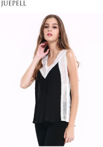 Summer New Big Yards Loose V-Neck Halter Lace Sleeveless Vest Women Chiffon Shirt Blouse Stitching Factory Price pictures & photos