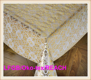 137cm Plastic PVC Gold Lace Roll Tablecloths New Designs Factory pictures & photos