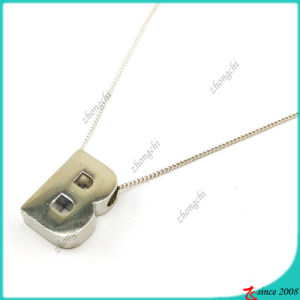 Silver Letter B Necklace for Lady (FN16041810)