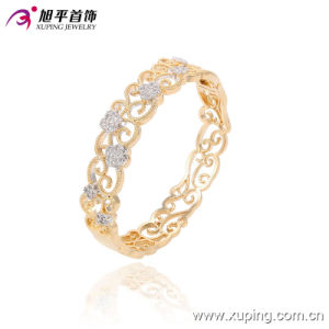 51365 Popular Fashion Elegant Royal Women′s Gold Jewelry Bangle with Flower pictures & photos