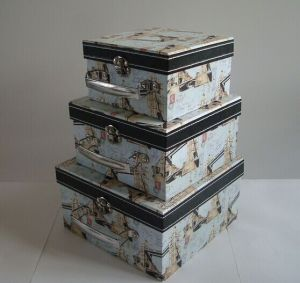 Vintage Cheap Three-Piece Rectangular Boxes Beautiful Gift Box Set pictures & photos