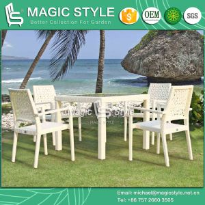 Rattan Dining Set Flower Weaving Chair Dining Table Stackable Chair (Magic Style) pictures & photos