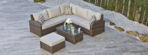Resin Rattan Wicker Garden Outdoor Rattan Lounge Sofa Set