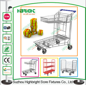 Double Layer Warehouse Logistic Cart Trolley pictures & photos