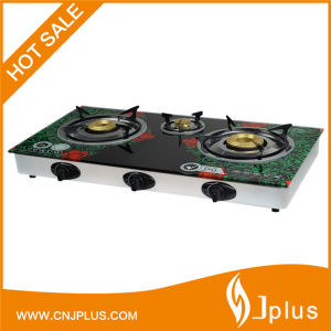 3 Burners Tempered Glass Top Brass 120mm Brass Gas Stove Jp-Gc303t pictures & photos