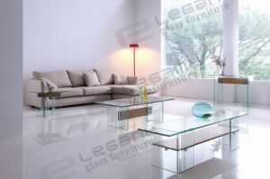 Flat Glass TV Stand with Clear Bent Glass Legs and Ashtree Shelf pictures & photos